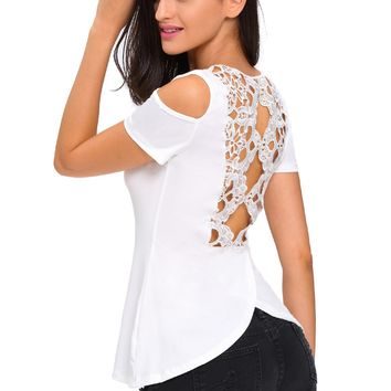 White Crochet Back Cold Shoulder Top
