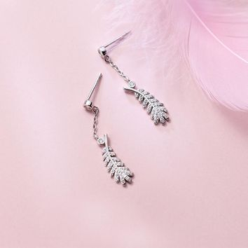 MloveAcc Luxury Pure 925 Sterling Silver Feather Leaf CZ Drop Earrings for Women Girls Engagement Wedding Ear Jewelry