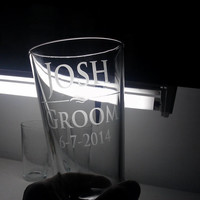 ANY QUANTITY Personalized Beer Glass Groomsmen Gift Wedding Gifts Custom Etched Glass Pilsner Mug Etched Glass Engraved Glass Glassware Bar