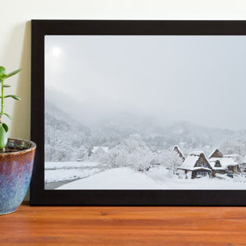 digital arts digital download photo art landscape photo wall arts  wall décor nature arts nature photo on sale village winter Japanese hut