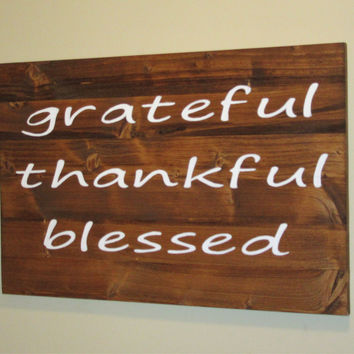 "Reclaimed wood Sign Large ""Grateful, Thankful, Blessed"" Sign - 15.5""x24"" - Home Decor Rustic Shabby Chic Wood Art Hand Painted"