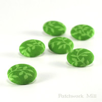 Fabric Buttons - Green Lake Leaves - 6 Medium Emerald Grass Lime Green Leaves and Twigs Fabric Covered Buttons for Sewing Knitting