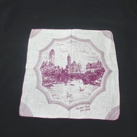 1950s Vintage Central Park, New York, Cotton Handkerchief with Burgundy Print, 13 In. Square, Swans, Water, Buildings, Vintage Handkerchief