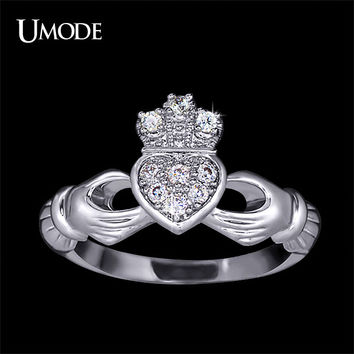 UMODE 2016 Christmas Gift Love Design Crown Hand Heart Clah-Duh Claddagh Ring For Women UR0127