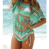 Ladies Sexy Hollow Out Chiffon Casual Beach Vacation Blouse