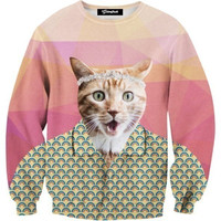 Button Up Cat Crewneck