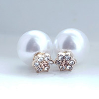 Double Sided Pearl and Flower Crystal Ear Jacket Earrings