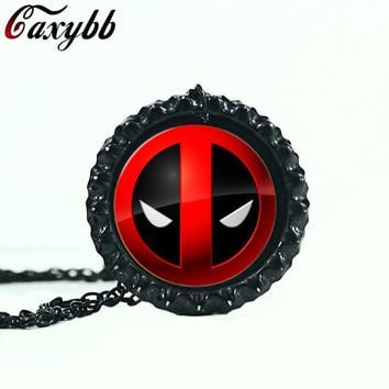 Deadpool Dead pool Taco  personality red and black necklace fashion crystal pendant vintage silver jewelry necklaces round dome 3 colors AT_70_6
