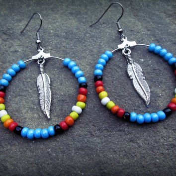 Native American Beaded Earrings by ChezlyXsane on Etsy