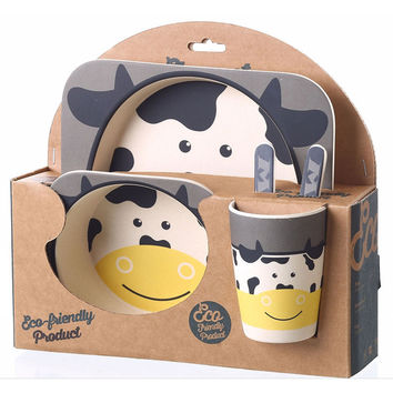 5Pcs/Lot Lunch Case Dinner Set Cartoon Animal Kid Set Include Bowl Meal Plate Kettle  Food Container Children Kitchen Tableware
