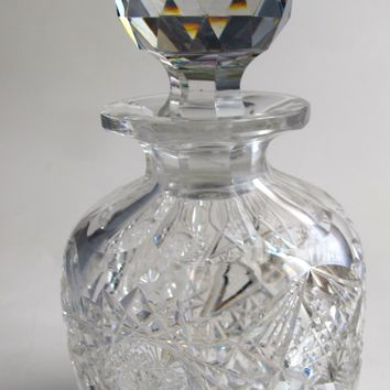 American Brilliant Period Cut Glass perfume bottle, Antique  ABP