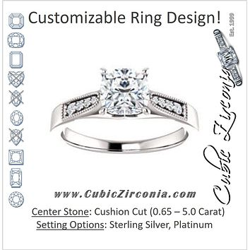 Cubic Zirconia Engagement Ring- The Ivana (Customizable 9-stone Vintage Design with Cushion Cut Center and Round Band Accents)