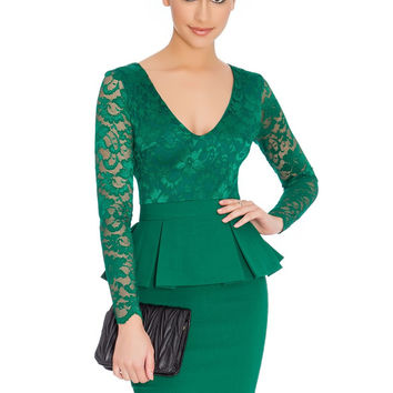Green Floral Lace V-Neck Long Sleeve Peplum Pencil Dress