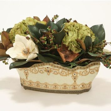 Hypericum, Hydrangea and Magnolia In Oval Porcelain Planter