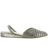 Seychelles Highly Touted - Silver Metallic Leather Elastic Slingback Wedge