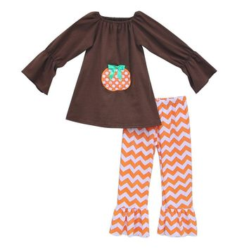 Halloween Fall Girls Outfit Boutique Ruffle Chevron Stripes Pants Long Sleeves Pumpkin Top Remake Kids Clothing Sets H008