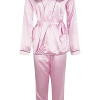 Boutique Eve Satin Robe Front Night Shirt & Trouser PJ Set | Boohoo