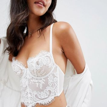 ASOS DESIGN Maria corded lace longline underwire bra at asos.com