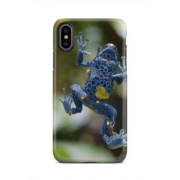 Blue Polka Dot Frog Stuck To Glass iPhone X Case