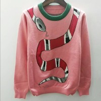 Gucci Snake Women Jacquard Print Round Collar Knit Pullover Top Wool Sweater Blouse