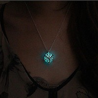 Round Fairy Locket Glow In The Dark Pendant Necklace