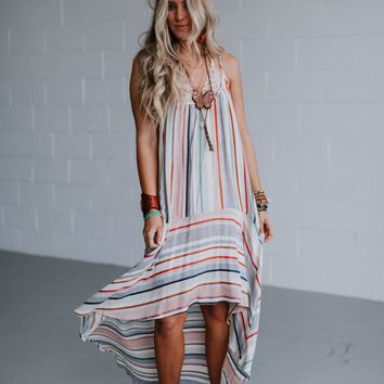 Ramada Striped High Low Maxi Dress - Blue Multi