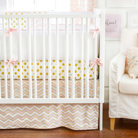 New Arrivals Gold Rush in Pink Baby Bedding