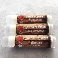 Rustic Wedding Lip Balm | Bridal Shower | Vintage Red Blooms | Free Customization