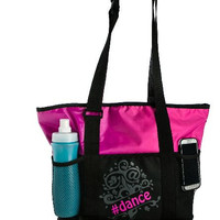 Black and Pink Hashtag Dance Tote Bag FREE Personalization Dance Bag Tote Recital Ballet Bag Valentine Easter Birthday Gift Dance Gear Bag