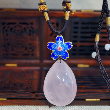 Large Rose Quartz Necklace - Cloisonne Flower  - Long Chain Rose Quartz Jewelry - Heart Chakra Healing Gift For Mom - Rose Quartz Pendant