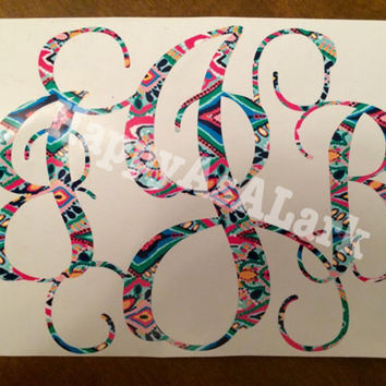 Lilly Pulitzer Inspired Monogram Car Decal