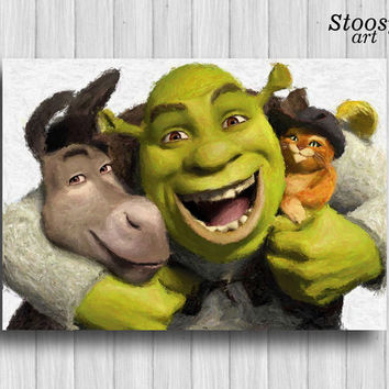 Shrek and friends poster childrens room print nursery painting kids wall art