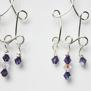 Wrapped looped silver wire with amethyst coloured crystals chandelier earrings, Deep purple sparkly drop earrings UK seller
