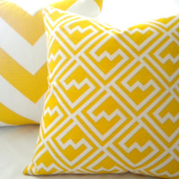Yellow geometric Pillow cover, yellow and white trellis pillow cover, all Sizes available