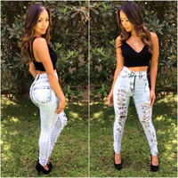 High Waist ACID distressed Skinny Jeans - Light