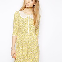 Little White Lies Ditsy Daisy Skater Dress With Mesh Collar - Yellow d