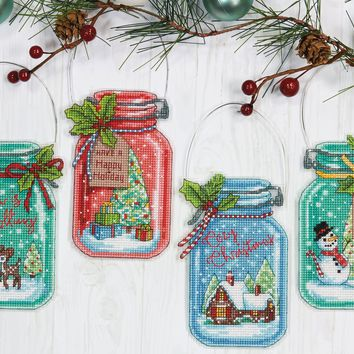 Christmas Jar Ornaments Dimensions Counted Cross Stitch Kit 7.5""