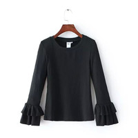 Butterfly Sleeve Stretch Pullover Shirt