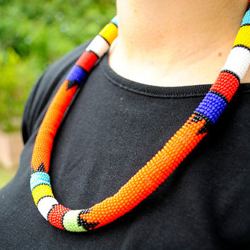 Zulu Necklace,Orange Necklace,African,Beaded,Rope Necklace,Masai Necklace,Beaded Necklace,African Jewelery,Tribal Necklace,African headpiece