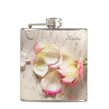 Rose on old copybook page flask