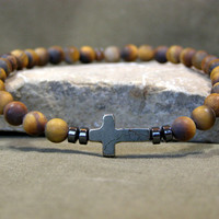Mens Cross Bracelet - Matte Tiger Eye Stones - Guys Jewelry - Cross Jewelry - Mans Accessory