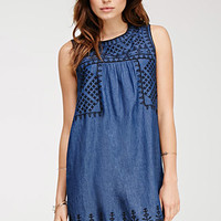 Embroidered Denim Shift Dress