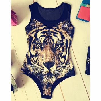 Fashion Tiger Print Tight Jumpsuit Swimsuit Swimwear