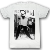Elvis Presley T-shirt The King On One Adult White Tee Shirt