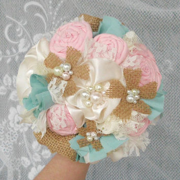 Fabric Flower Bouquet, Bridal, Rustic, Burlap, Country, Vintage, Wedding, Shabby Chic, Lace Rosettes Pearls 10""