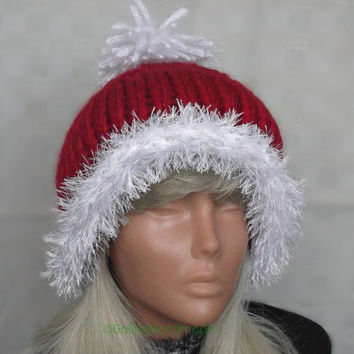 Christmas Santa Hand Knit Slouchy Hat Beanie Slouch Cabled Hat With Tassel  Red White