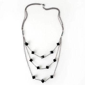 Multi Strand Layered Necklace Made of Black Onyx Cube Stone, Trendy Fashion Jewelry