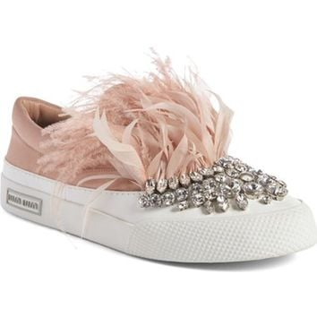 Miu Miu Embellished Feather Slip-On Sneaker (Women) | Nordstrom