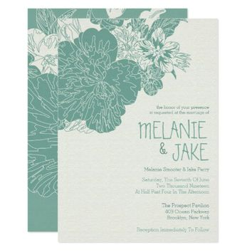 Sage and Ivory Floral, Wedding Invitations