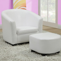 White Leather-Look Juvenile Chair / Ottoman 2Pcs Set